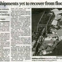 Rail shipments yet to recover from flooding