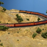 A detouring Coast Starlight climbing upgrade around the upper section of th