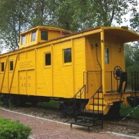 Wood sheathed caboose