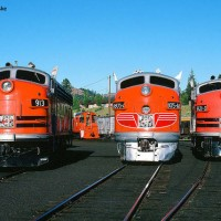 Three WP F units at Portola Railroad Museum
