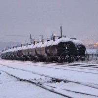 Snowy tank cars at sunset, 1-29-09