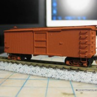 Finishing touches on Virginia & Truckee Hay Boxcar 1011
