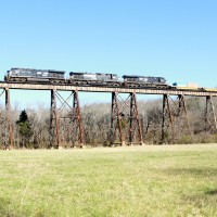 NS Stack train on Pope Lick Trestle, KY, 11-18-2011