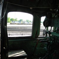 From the cab of the steam locomotive.