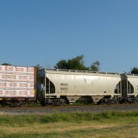 Loaded sand hopper (frac sand?) in SB freight, Muskogee, OK