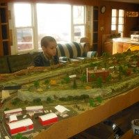 Carter watching N scale trains