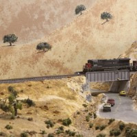 Caliente-Bodfish Rd overpass (n scale) 2013-08-10