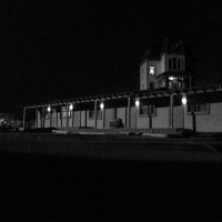 Bates Mansion and Motel at Night