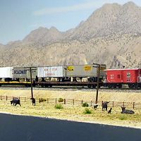 Eastbound WP TOFC train passes a cattle ranch at Wesso, Nevada