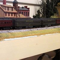 Athearn Heavyweight Passenger train passing Owl Industries