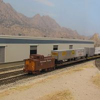 West bound TOFC passing the cat litter plant in Battle Mountain, Nevada
