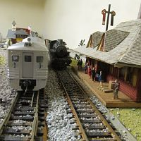 Atearn Buddliner stops at scratch built Lisbon station