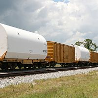 Do Not Hump - Shuttle RSRM on railcars