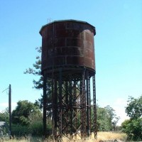 Steel Water Tower along the UP main in Elmira, CA (2002)