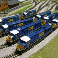 My CSX YN3 loco Fleet so far. From new to older. In front I have two Kato SD70ACe's then I have two Kato SD70M's and two Atlas SD50's and in the back I have two Atlas GP38's.