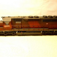 "Kato CR (ex CNJ ""Red Baron"") SD40, custom painted and weathered."