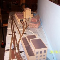 "Early production of the ""industry"" side of the layout. The background building is the Superior Paper Kraft Mill, standing in as a coal fired power plant."