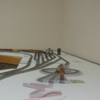 Yard and engine facility on temporary layout
