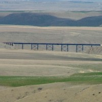 Red Coulee trestle seen from a distance from the highway