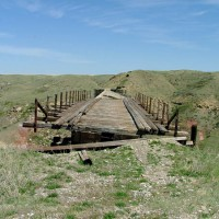 Collasping remains of Red Coulee trestle's approach