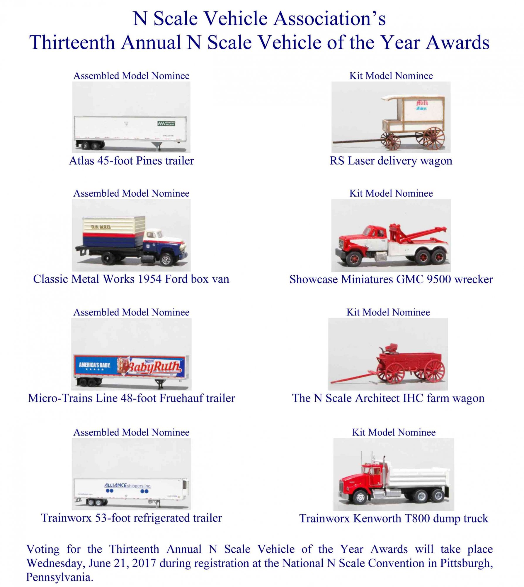 13th Annual N Scale Vehicle Of The Year Award Flyer