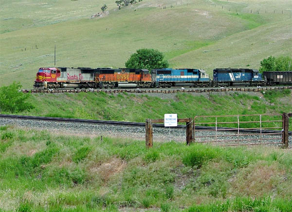 BNSF Boardman coal empty sitting at the lower loops at Austin, MT