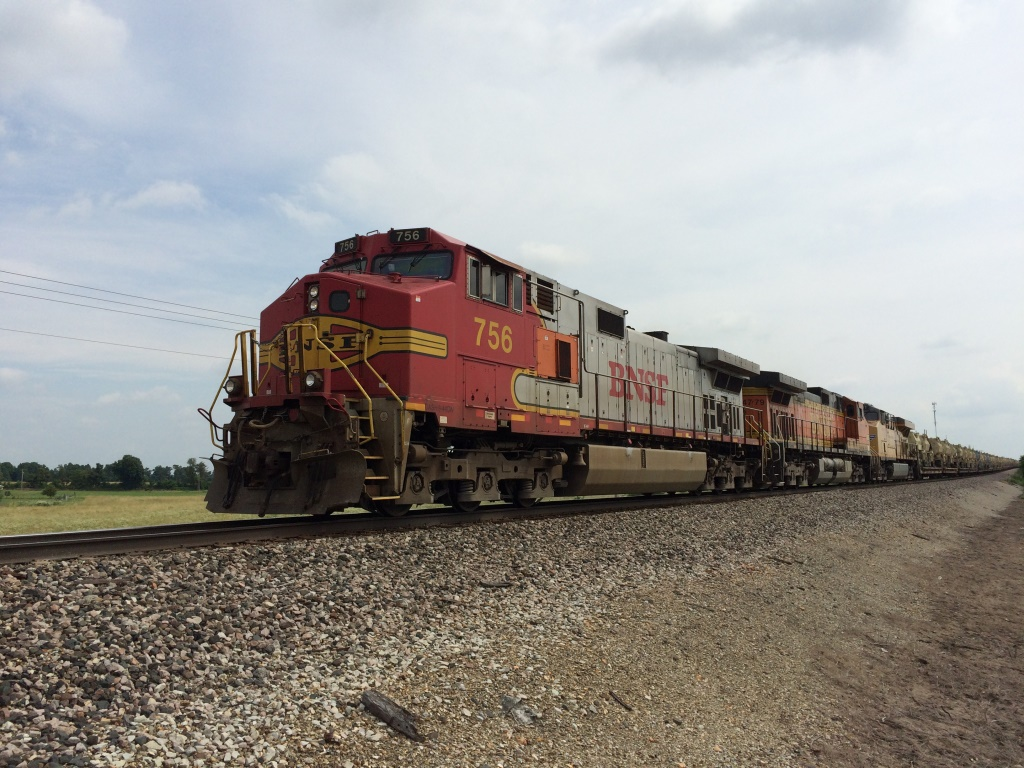 BNSF westbound unit military train, West Republic, MO 6-12-15