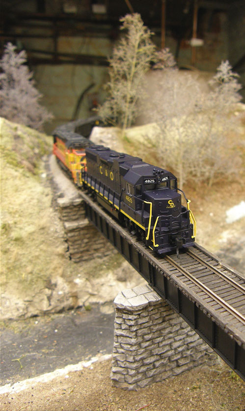 C&O 4825 across the bridge.