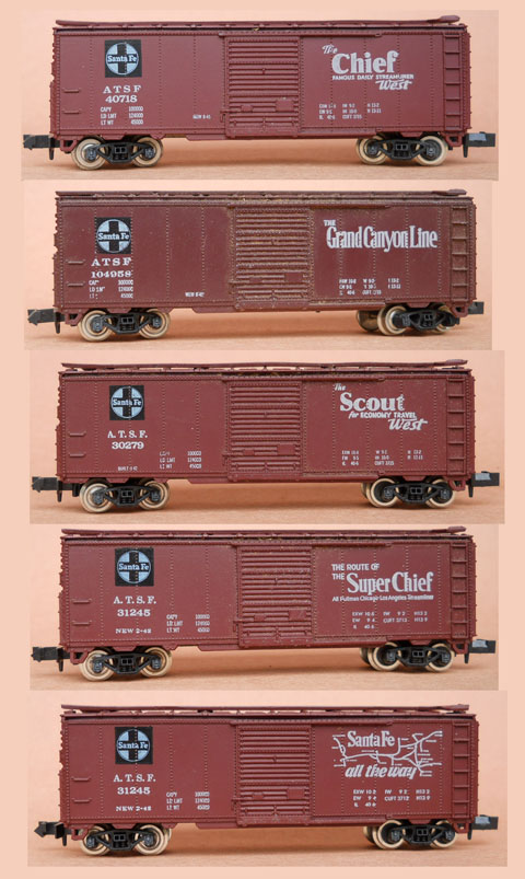 Concor ATSF name train boxcars