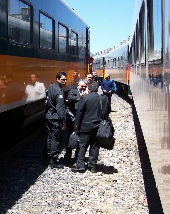 Crews exchange on the two Primera Express trains