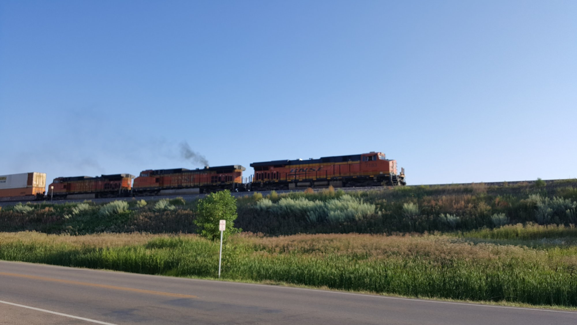 Eastbound stacks leaving Minot