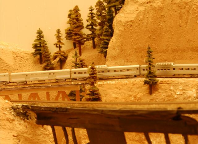 Here we see the Zephyr crossing the wooden bridge