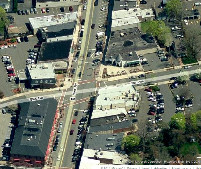 Here's the bird's eye view of the gas station today (now a Starbucks).