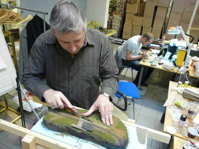 Jürg working on a diorama with Torsja.  Yes, Jürg with a tool instead of a
