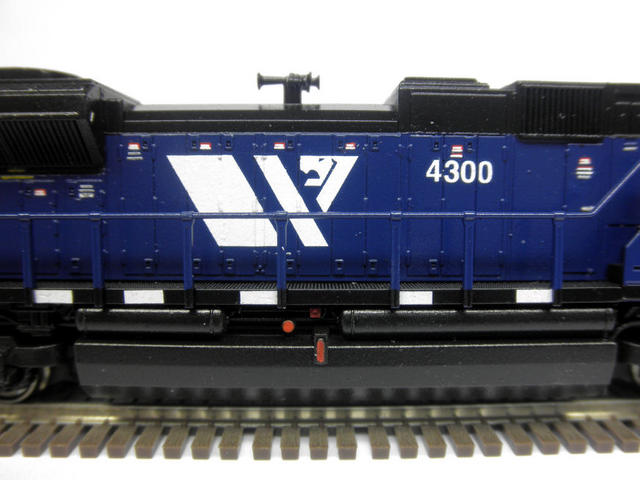 "Kato SD70ACe MRL 4300.  Used Model Masters acryl ""Blue Angel Blue"". Used Trainworx SD70ACe/M-2 detail set and BLMA grab irons.  Moved Headlight to the nose, shaved off number board backing to make more correct, removed smaller GPS dome and lowered rear headlight.  Rear of underframe was milled to make rear grills see-through."