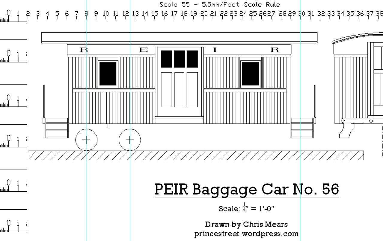 Prince Edward island caboose plan scaled to 55n3 in photoshop