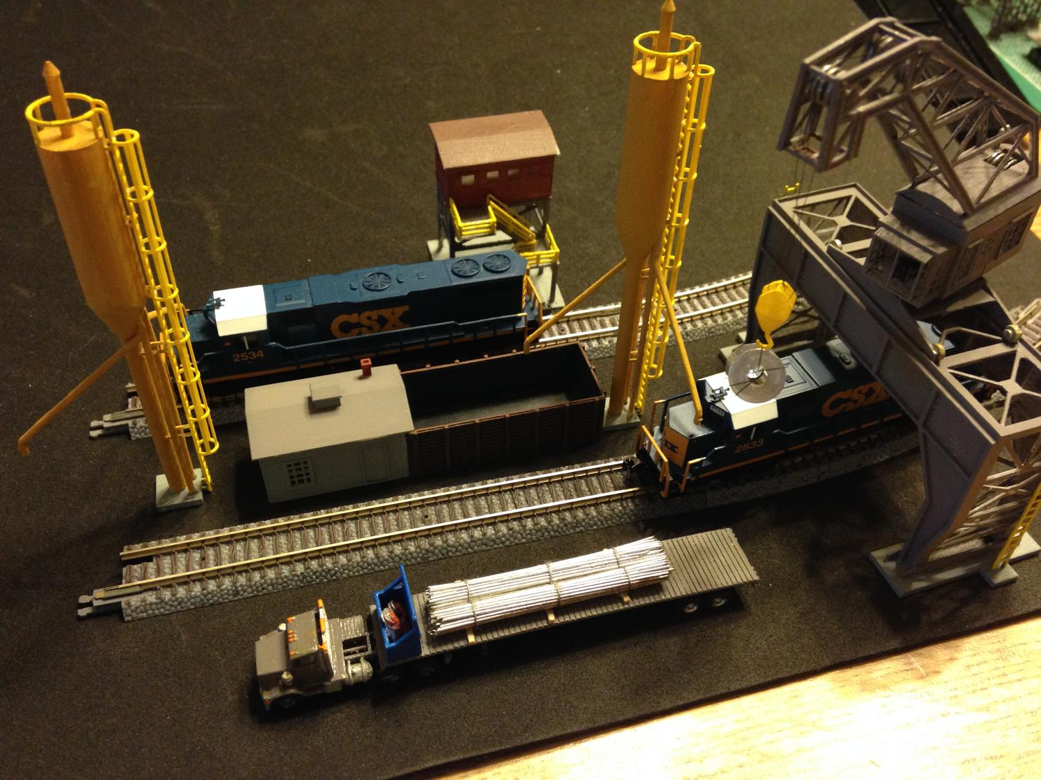 Sanding station for diesel with sand drying building in Z scale and Gantry Crane.