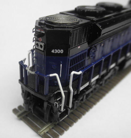 SD70ACe MRL 4300 rear.  Lowered headlight, installed BLMA grab irons and some hamemade one's. Also used Trainworx side grills, radiator cooling fans and Dynamic brake grill.