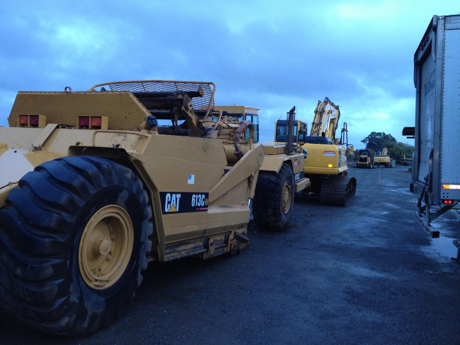 Some heavy equipment in place to start working on the right of way in Petaluma, Ca.