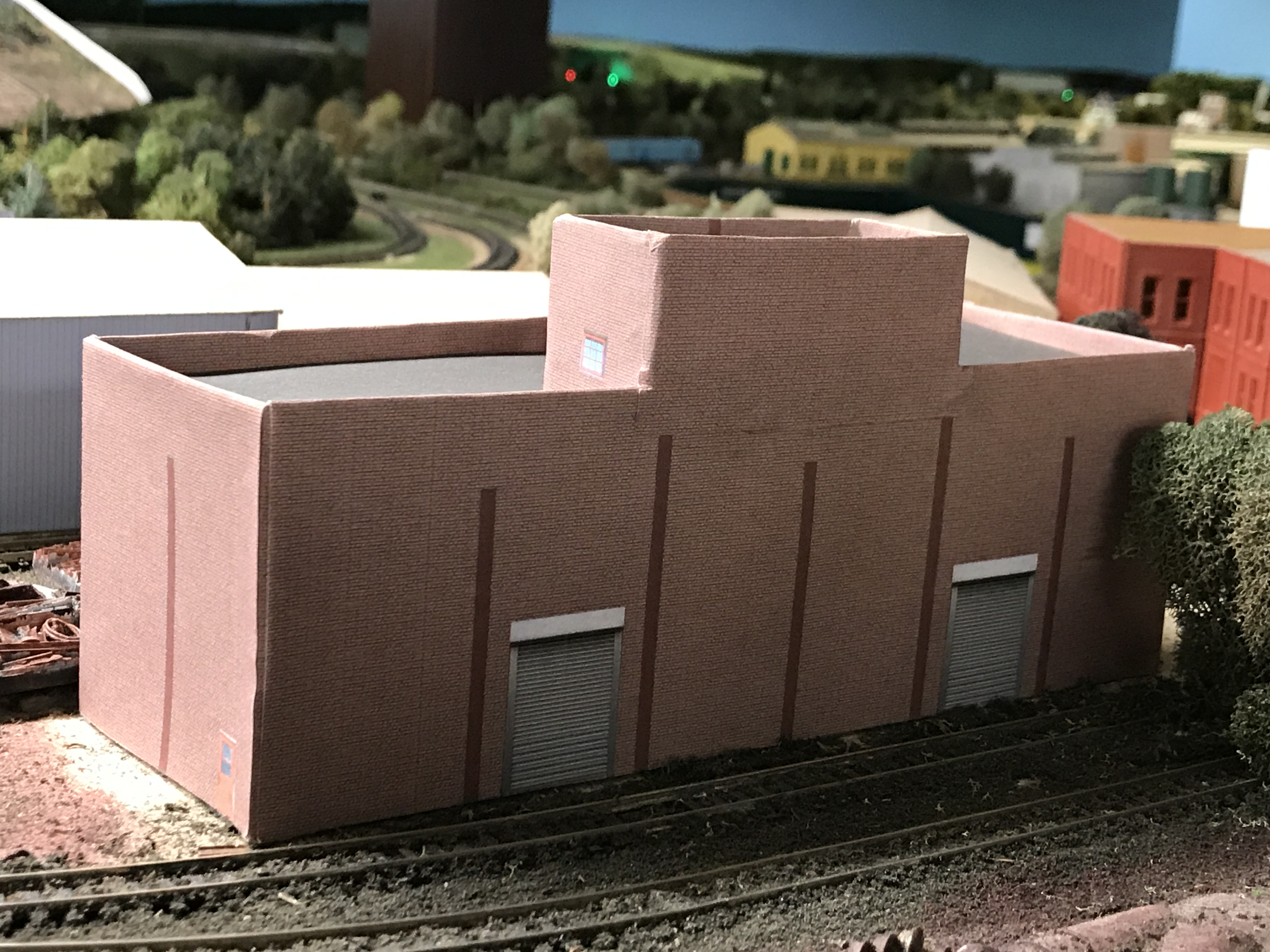 "Upgraded IBS Scrap Yard Sorting Building with its new ""skin"" on. Still needs to have the brick covered pilasters glued on"