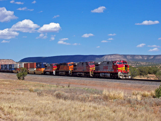 WB stack train just west of Mountainair, NM, waiting for fleet of eastbounds (and another westbound ahead of it) to roll before it runs thru the single-track Abo Canyon. Once thru this bottleneck, it's clear sailing to the crew-change point at Belen.